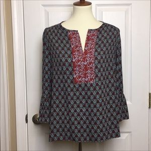 LOFT Tops - Ann Taylor Loft Burgundy Navy Boho Top Blouse